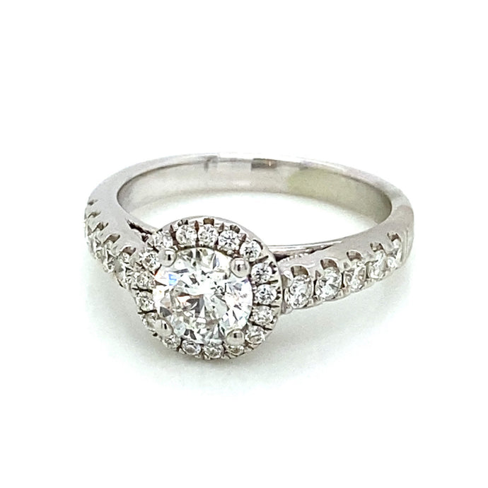 1.16ct Brilliant Cut 14k White Gold Halo Engagement Ring