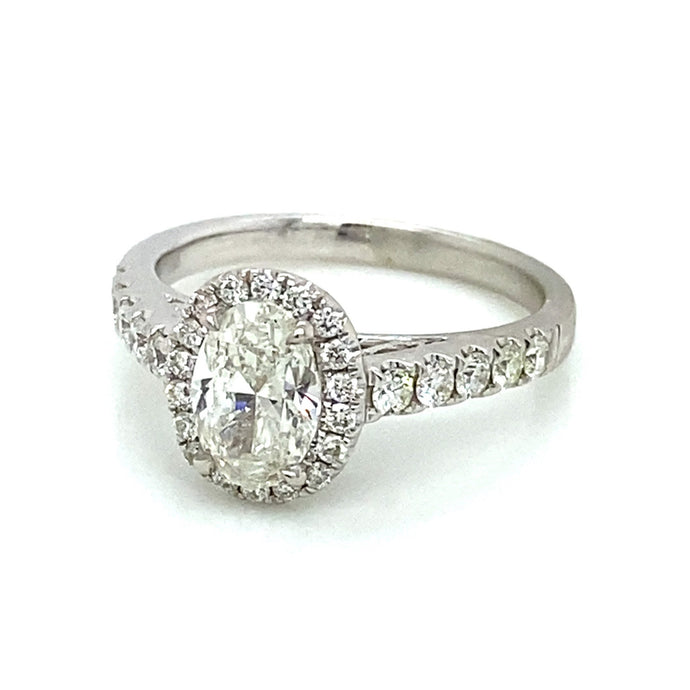 1.49ct Oval Cut 14k White Gold Halo Engagement Ring