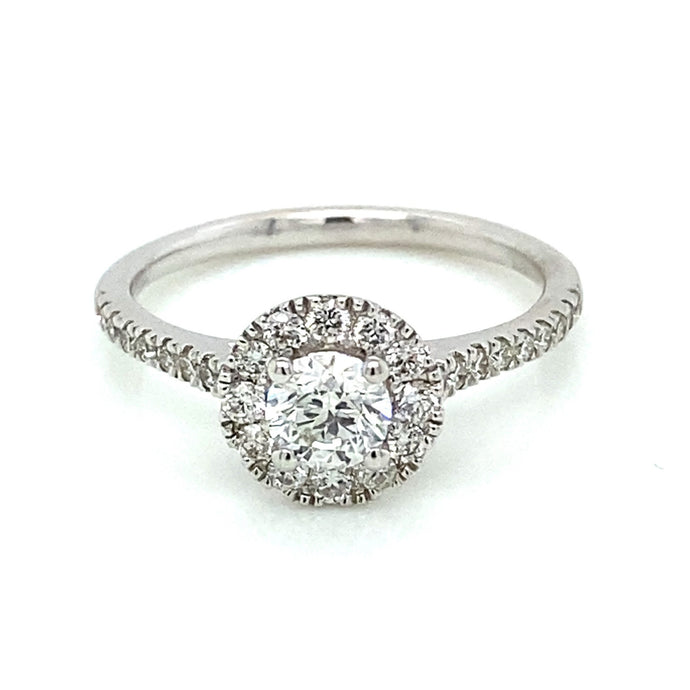 .9ct Brilliant Cut 14k White Gold Halo Engagement Ring