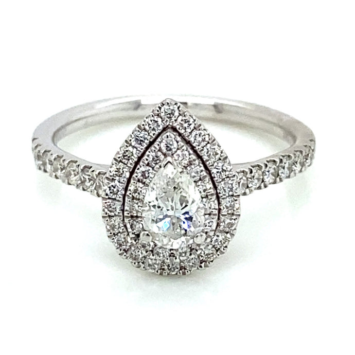 3/8ct Pear Shaped 14k White Gold Double Halo Engagement Ring