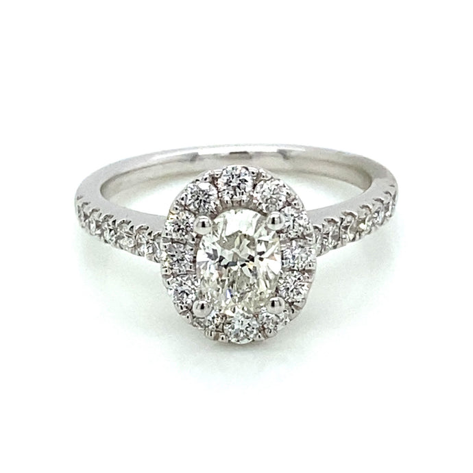 3/4ct Oval Cut 14k White Gold Halo Engagement Ring