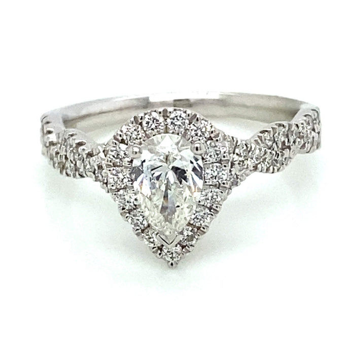 1.23ct Pear Shape Cut 14k White Gold Twist Engagement Ring