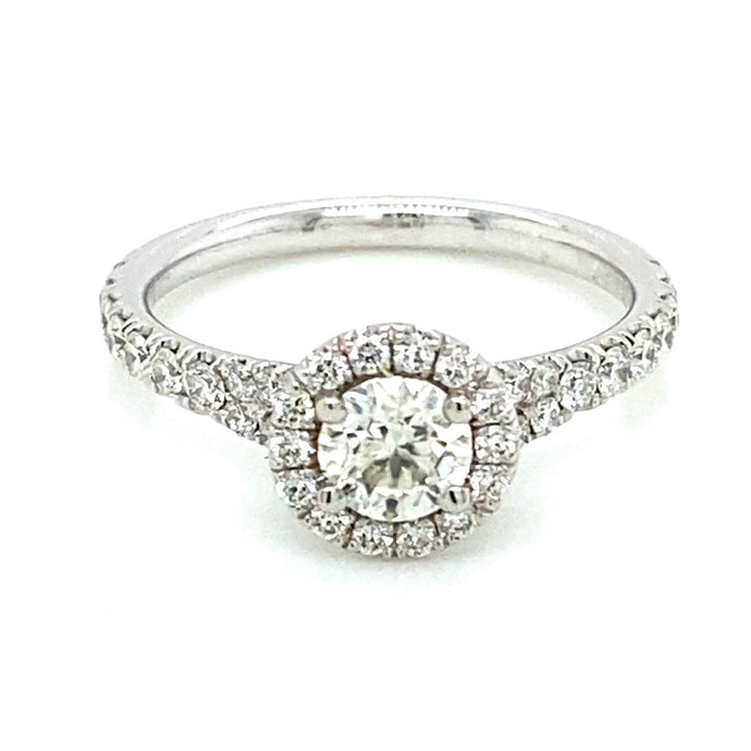 1.06ct Brilliant Cut 14k White Gold Halo Engagement Ring