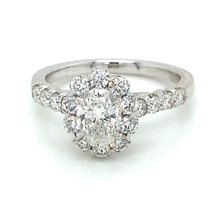 1.65ct Oval Cut 18k White Gold Vintage Style Engagement Ring