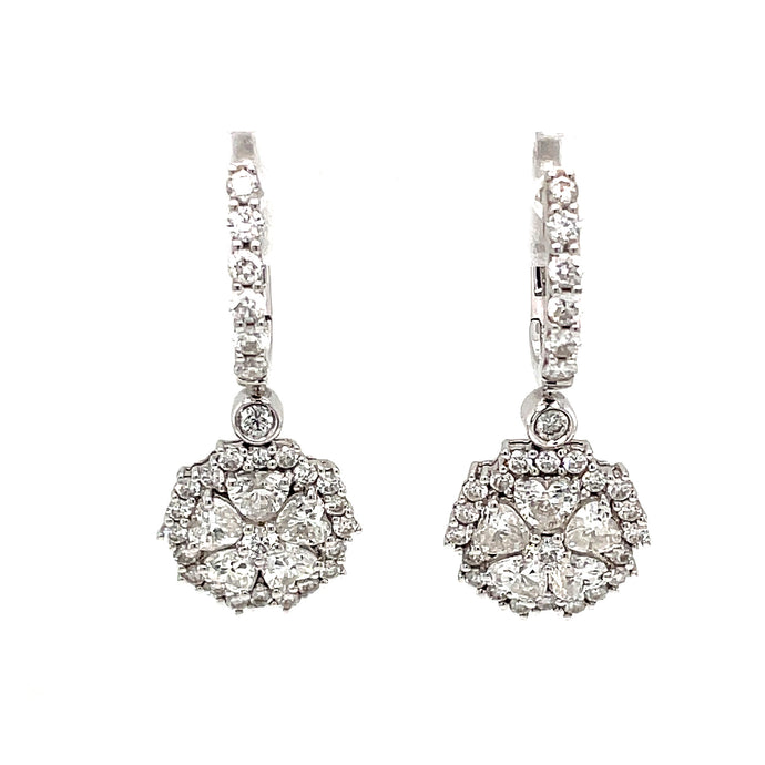 18k White Gold Heart Shape Diamond Drop Earrings
