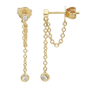 14k Yellow Gold Diamond Chain Earrings