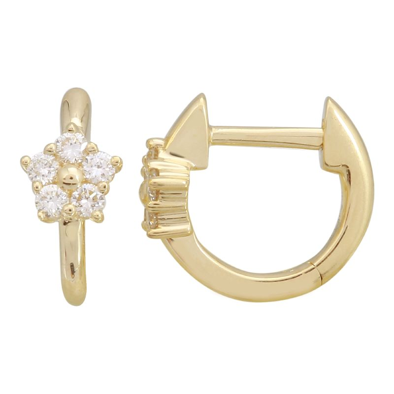 14k Yellow Gold Diamond Flower Huggy