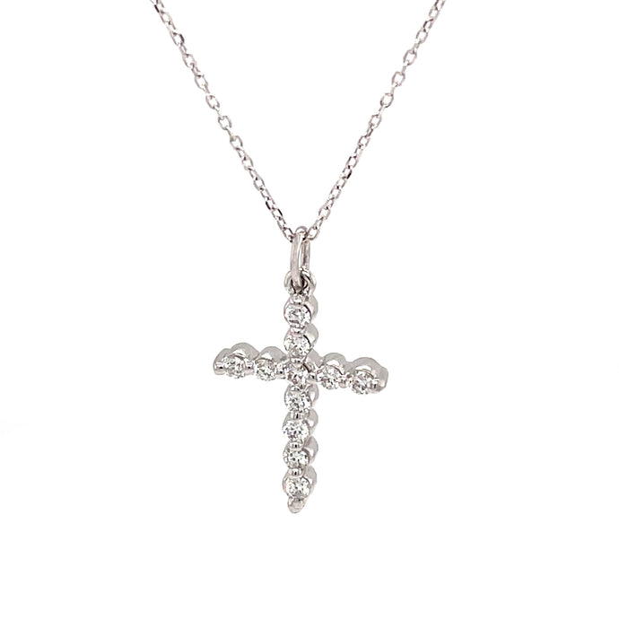 11 .30ct 14k white gold diamond cross and chain necklace