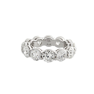 Platinum Round Brilliant Cut Diamond Eternity Band- 8.43ctw