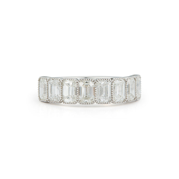 14k White Gold Bezel Set Emerald Cut Wedding Band