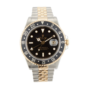 Pre-Owned 18k Gold & Stainless Steel 40mm Rolex GMT Master II Model 16713