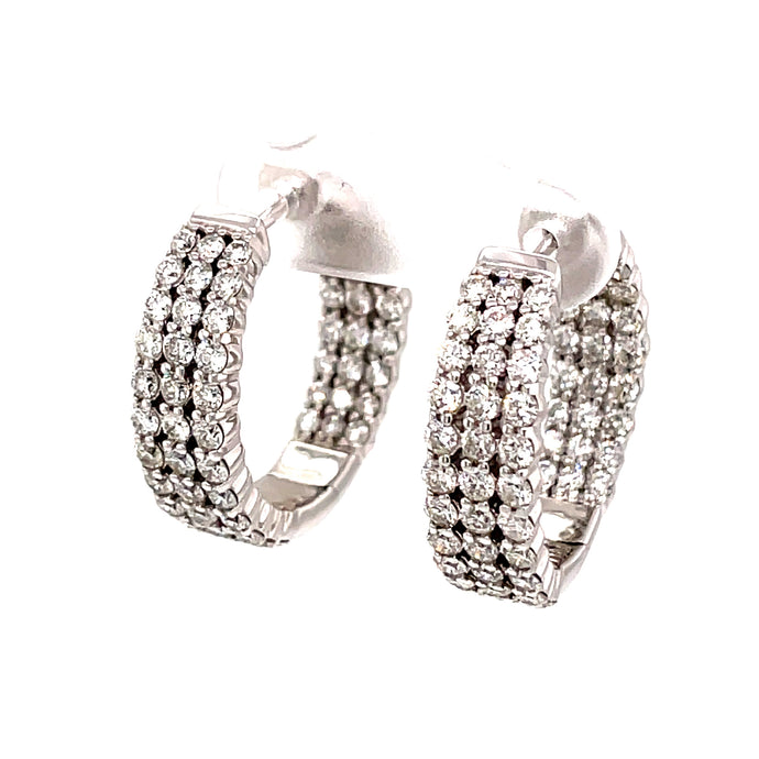 120 2.78ct 14k white gold triple row diamond hoops