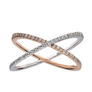 18k White & Rose Gold Diamond X Ring