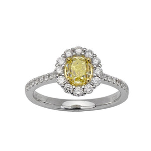 18k White Gold Oval Fancy Yellow Diamond Ring