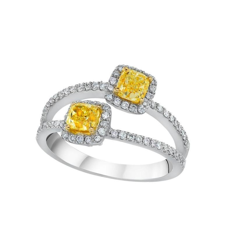 18k White Gold Yellow & White Diamond Ring