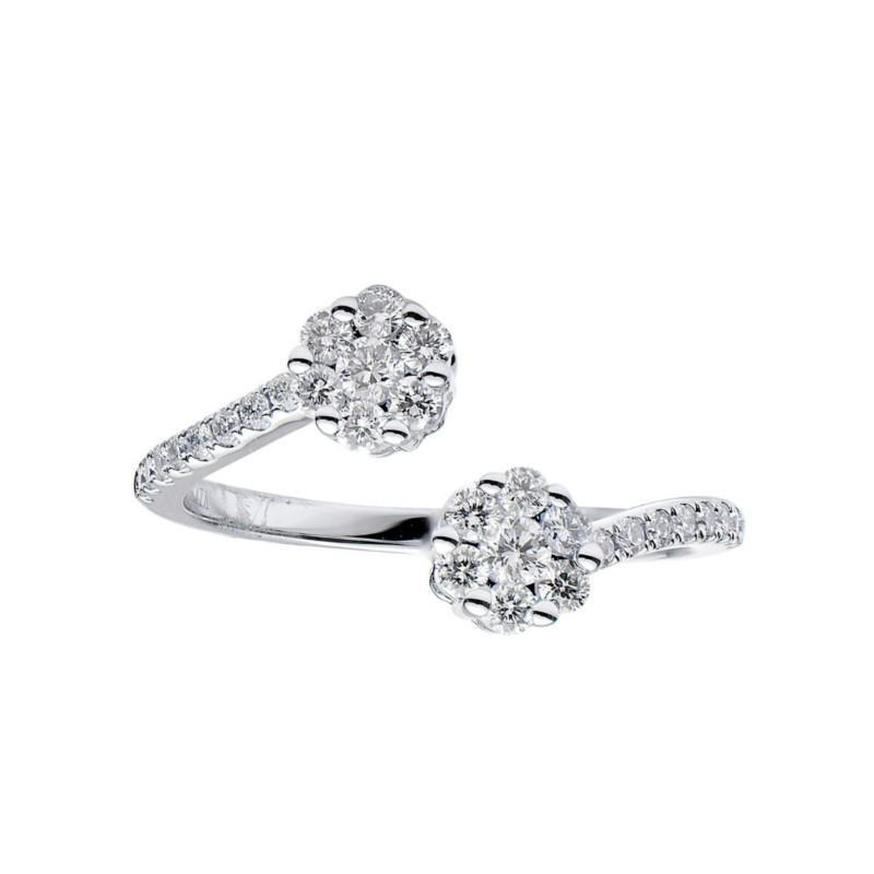 18k white Gold Double Flower Diamond Ring
