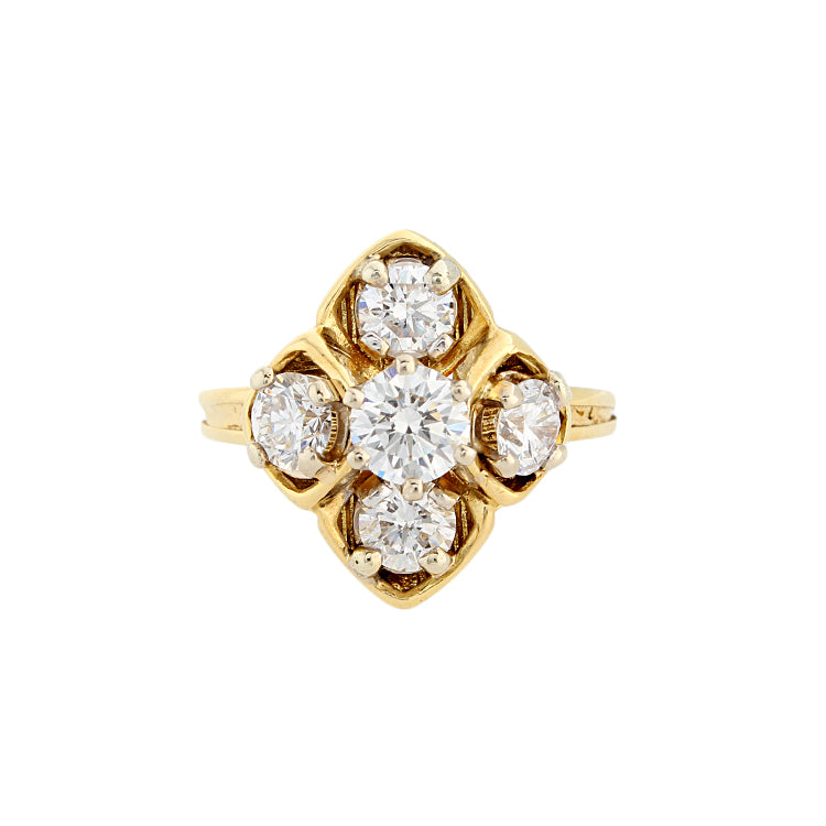 Estate 18k Yellow Gold Diamond Ring