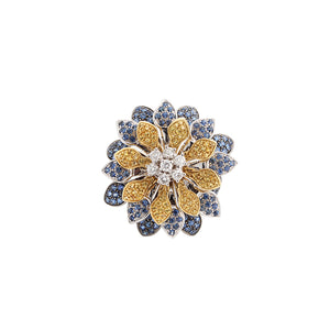 Estate Platinum Diamond & Sapphire Flower Ring