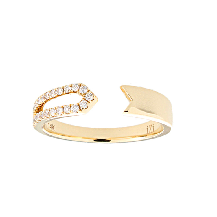 14k Yellow Gold Diamond Arrow Ring