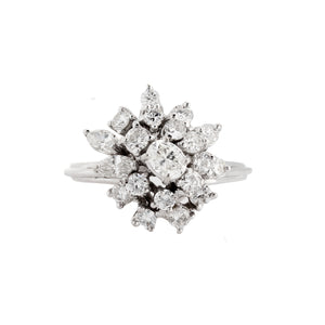Estate 14k White Gold Diamond Cluster Ring
