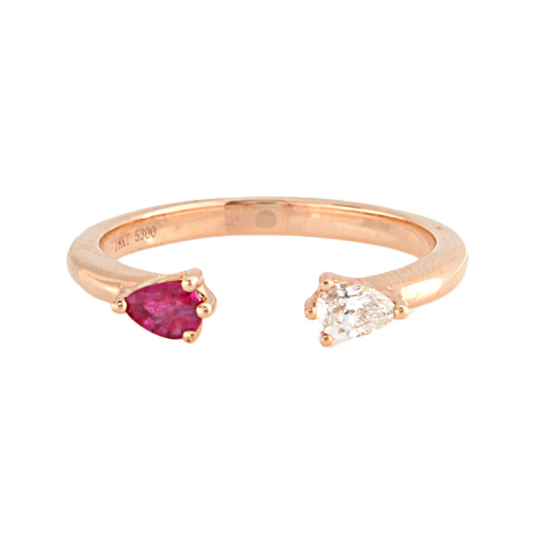 18k Rose Gold Diamond & Ruby Ring