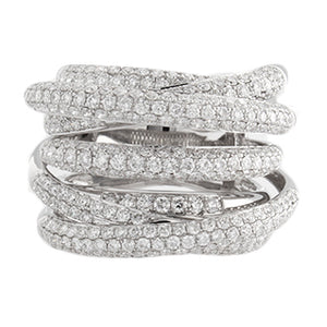 18k White Gold Micro Pave Diamond Ring