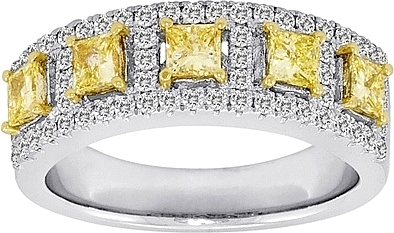 1.45ct Fancy Yellow 5 Stone Diamond Band