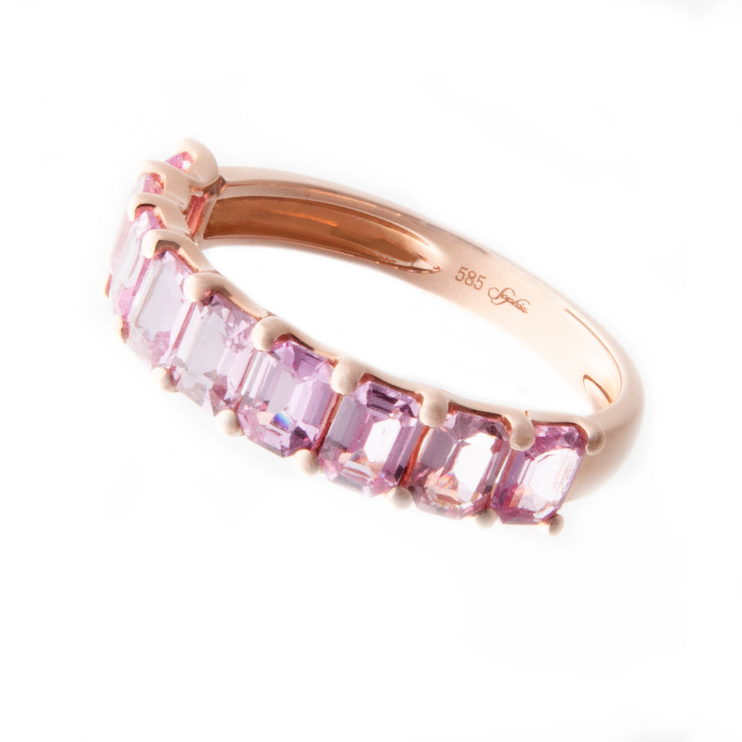 14K Pink Sapphire Band 1.95cts