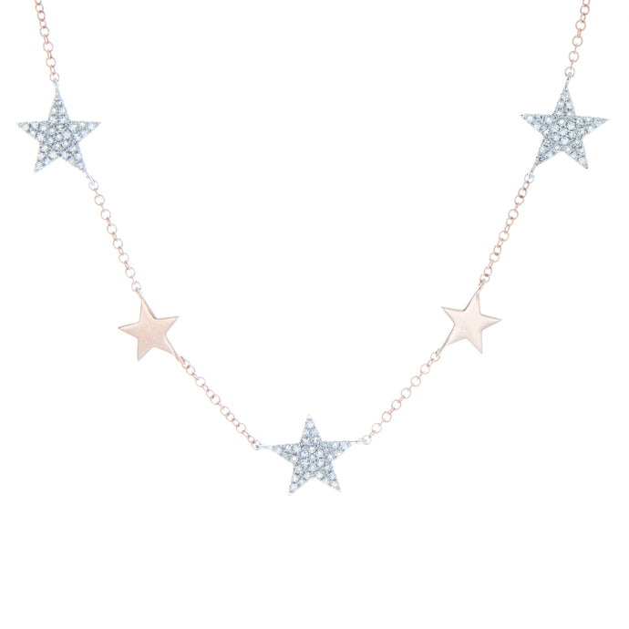 14K White and Rose Gold Diamond Star Necklace