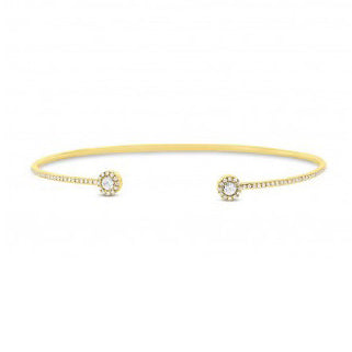 14k Yellow Gold Rose Cut Diamond Cuff Bracelet