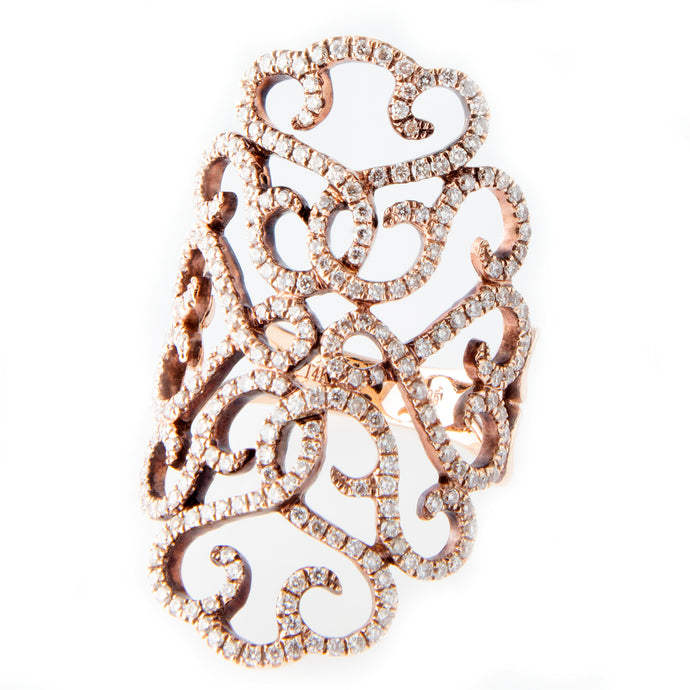 14k Rose Gold Diamond Lace Ring