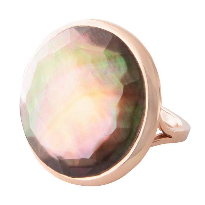 14k rose gold rutilated dark smoke statement ring