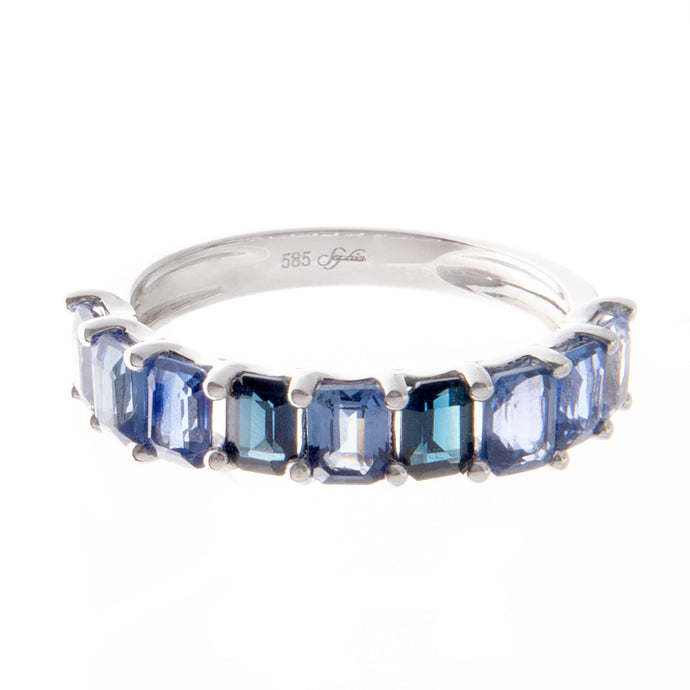 14k white gold multi sapphire ring 2.38cts