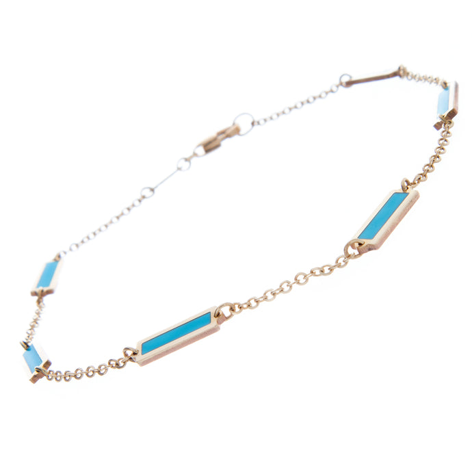 14k yellow and turquoise chain link bracelet