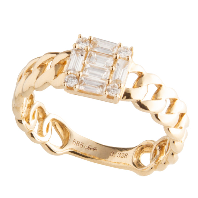 14k Yellow Gold Curb Chainlink Diamond Ring