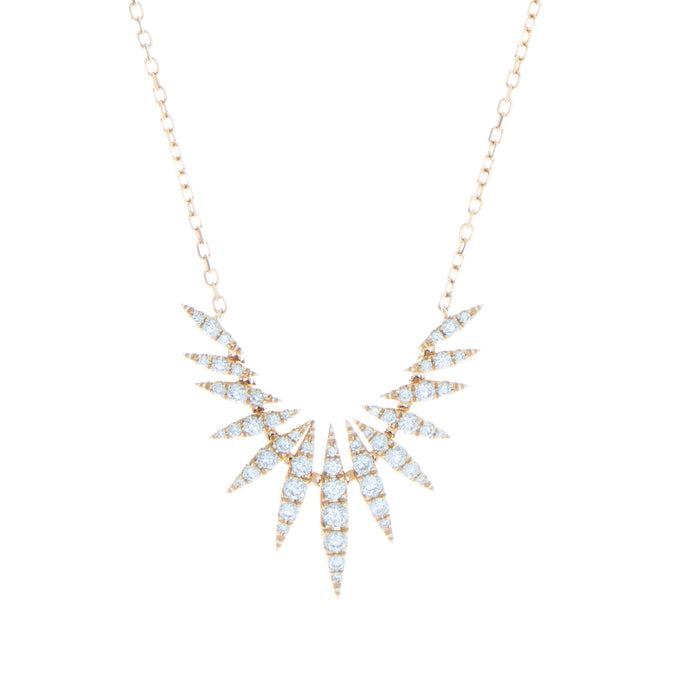 14k yellow gold diamond spike necklace