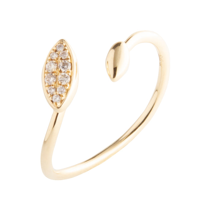 14k yellow gold open face oval diamond ring