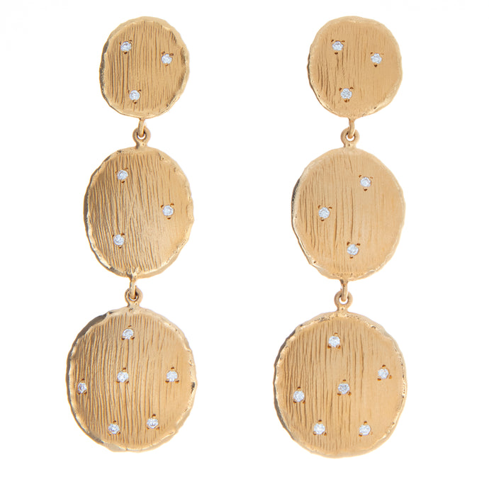 14k Yellow Gold Textured Drop Earrings