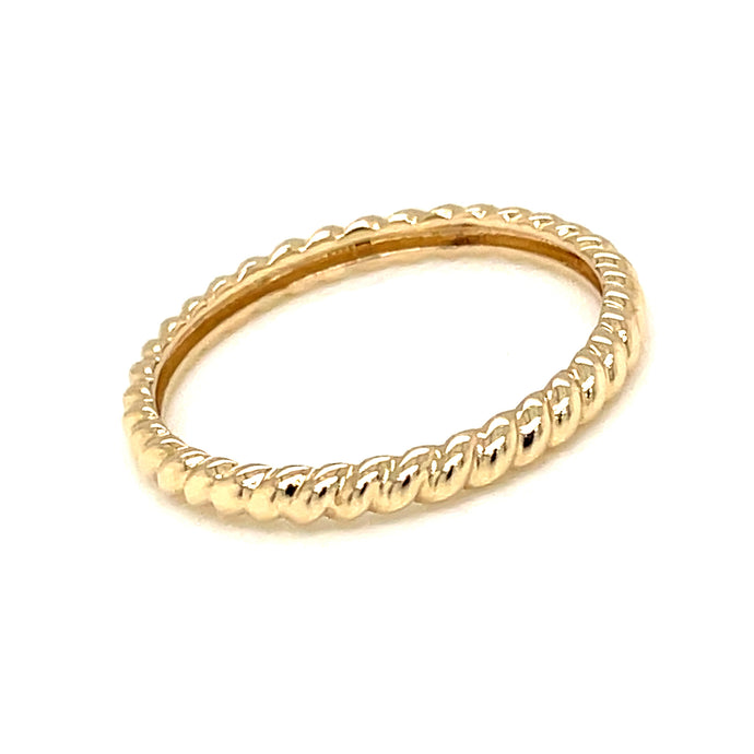 14k yellow gold twist stackable band