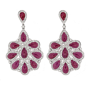 18k White Gold Diamond & Ruby Drop Earrings