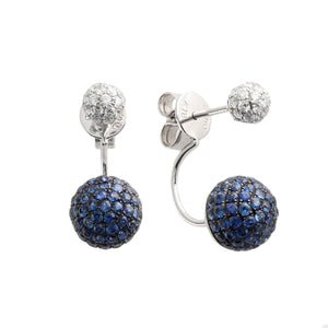 18k White Gold Diamond & Sapphire Ball Earrings