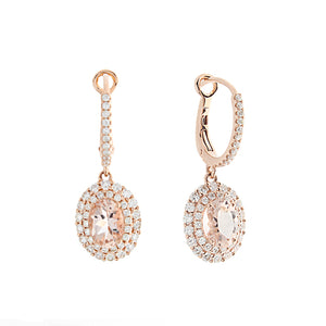 14k Rose Gold Diamond & Morganite Earrings