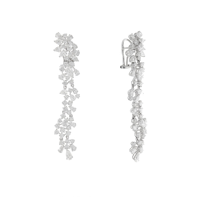 18k White Gold Diamond Drop Earrings - 8.61ctw