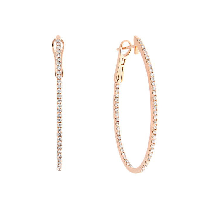 18k Rose Gold Diamond Oval Hoop Earrings