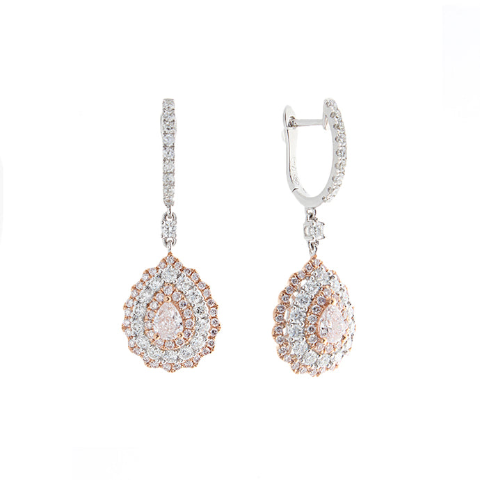 18k White Gold Pink & White Diamond Drop Earrings