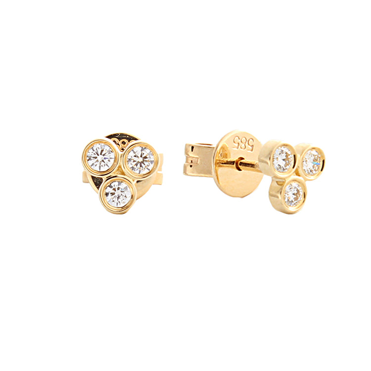 14k Yellow Gold Bezel Set Diamond Stud Earrings