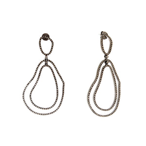 Sterling Silver Black Rhodium Diamond Drop Earrings