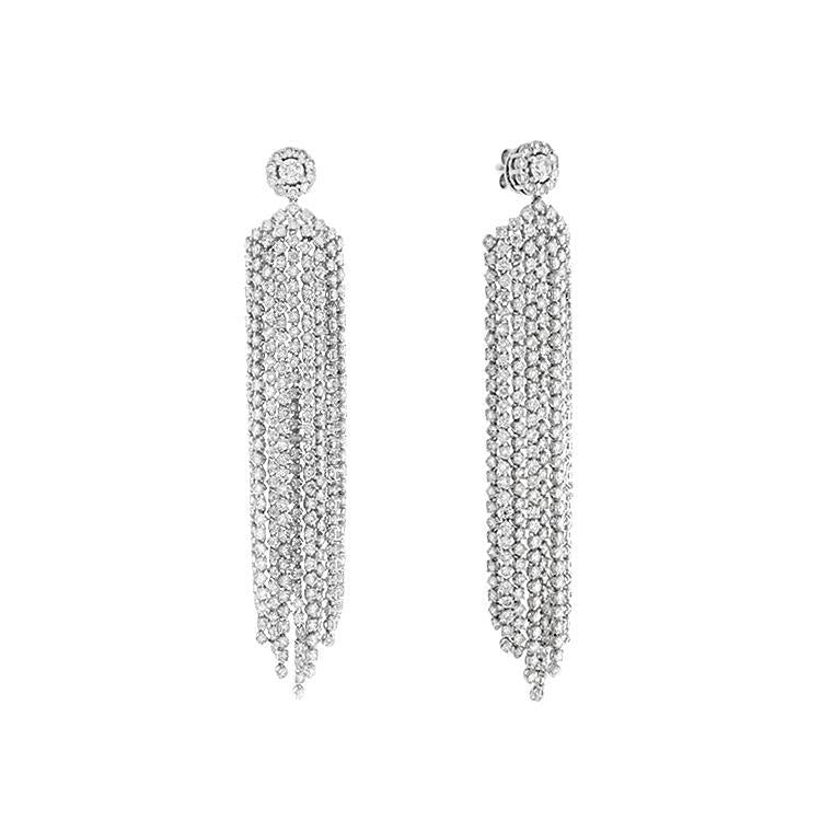 18k White Gold Diamond Tassel Drop Earrings