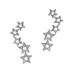 14k White Gold Diamond Star Ear Crawlers