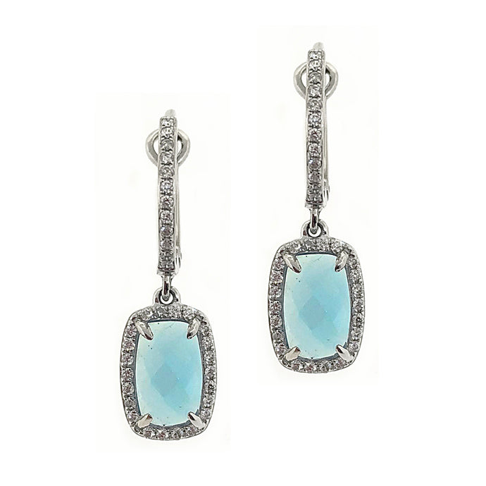 14k White Gold Diamond & Blue Topaz Drop Earrings
